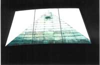12- ley-line runs up the center of eye-pyramid seen through window